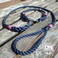 ROPE DOG COLLAR AND LEAD SET - NAVY
